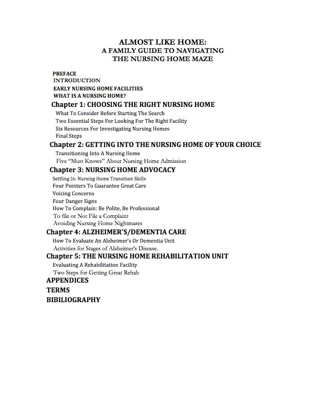 Almost Like Home - Table Of Contents